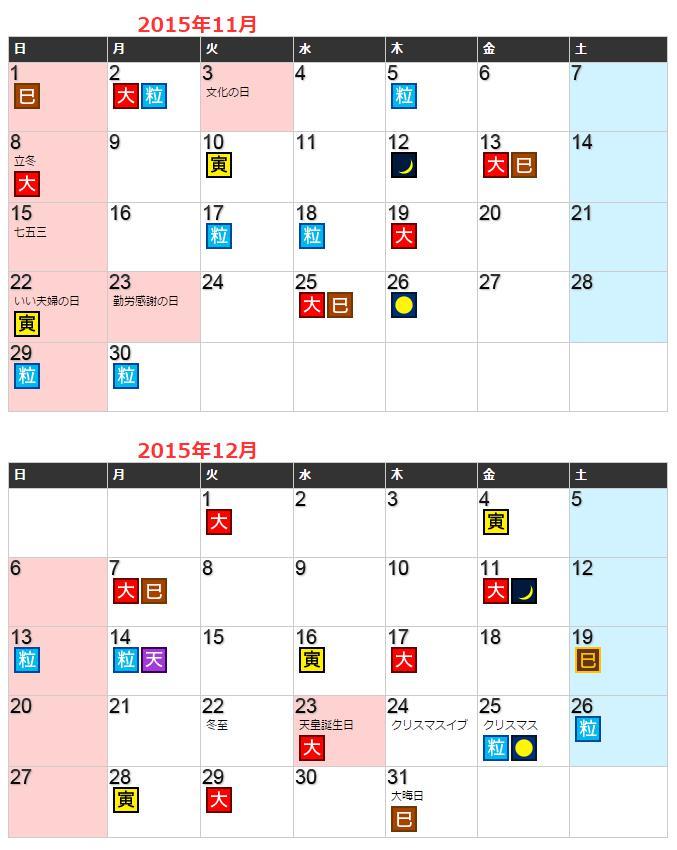 財布屋開運カレンダー2015