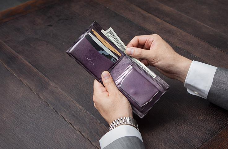 ベラトゥーラ技法を用いた二つ折り財布ユハク